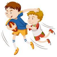 Due uomini che giocano a rugby