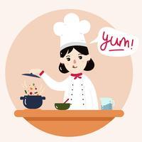 vettore di ragazza chef
