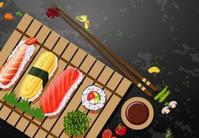 Una serie di piatti a base di sushi vettore