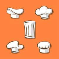 icone del fumetto di cappelli da chef vettore