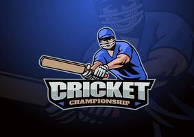 Logo della mascotte del giocatore di cricket