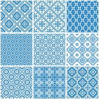 modelli senza cuciture etnici ornamentali blu e bianchi vettore
