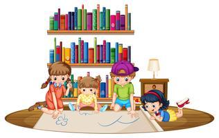 Quattro bambini che disegnano un'immagine nella stanza vettore