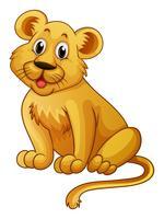 Piccolo leone con faccia felice vettore