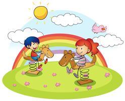 Ragazzo e ragazza sul cavallo a dondolo vettore