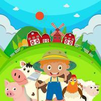 Agricoltore e animali da fattoria nella fattoria