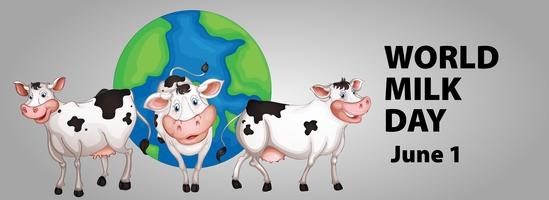 Design del poster per la giornata mondiale del latte vettore
