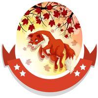 Disegno della bandiera con la volpe che salta