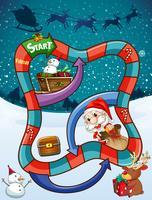 Modello di gioco con Babbo Natale e regali vettore