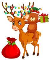 Tema natalizio con orso e renne vettore
