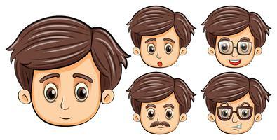 Uomini con diverse espressioni facciali vettore