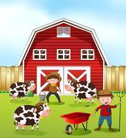 Agricoltore e fienile vettore