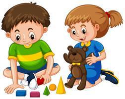 Ragazzo e ragazza giocano a giocattoli vettore
