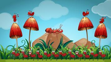 Formiche nel giardino dei funghi vettore