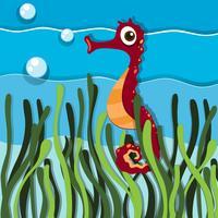 Cavalluccio marino nuota sotto l'oceano vettore