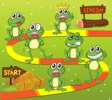 Modello di gioco con personaggi di rana vettore
