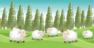 Pecore sorridenti vettore