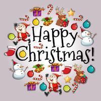Cartolina di Natale felice con Babbo Natale e oggetti