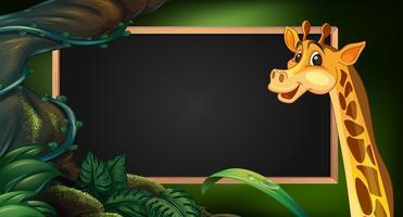 Modello di cornice con giraffa selvaggia vettore