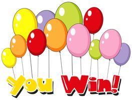Font design per te vincere con sfondo di palloncini