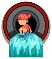 Un bambino che gioca al tubo di scarico