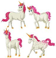 Unicorno bianco in quattro azioni vettore