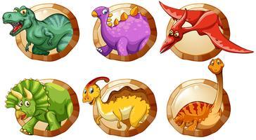 Diversi tipi di dinosauri su pulsanti rotondi