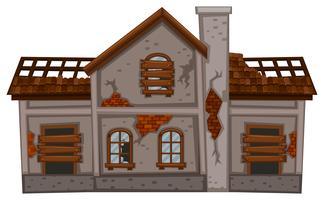 Vecchia casa di mattoni in cattive condizioni