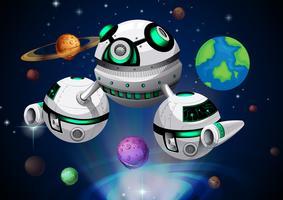 Astronave che viaggia attraverso lo spazio vettore