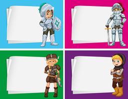 Disegno di carta con cavalieri e vichinghi vettore