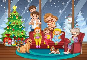 Famiglia insieme sulla scena di Natale