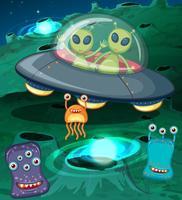 Alieni in UFO nello spazio vettore