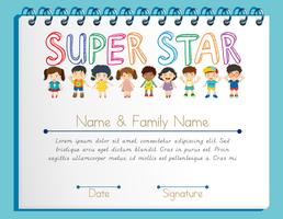 Modello di certificato per super star con molti bambini vettore