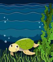 Tartaruga che nuota sotto l'oceano vettore