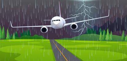 Un atterraggio di emergenza aereo all'aeroporto vettore