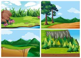 Quattro scene di foresta durante il giorno vettore