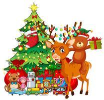 Tema di Natale con renne e albero di Natale vettore