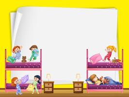 Disegno di carta con bambini nel letto a castello vettore