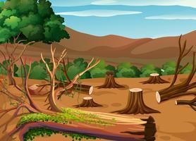 Scena di deforestazione durante il giorno vettore