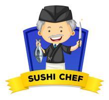 Wordcard di occupazione con cuoco di sushi