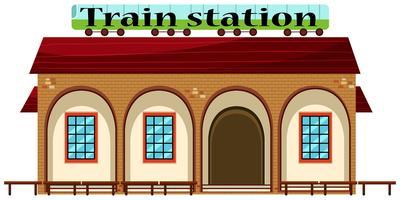 Stazione ferroviaria su sfondo bianco