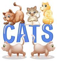 Progettazione di carattere con gatti di parola con molti gattini in background vettore