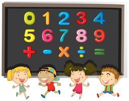 Numeri e segni sulla lavagna vettore