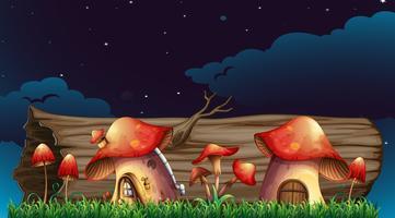 Case di funghi in giardino durante la notte vettore