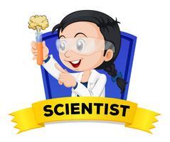 Carta di parola di occupazione con scienziato femminile vettore