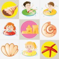 Tema estivo con bambini e conchiglie