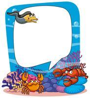 Modello di cornice con animali in mare