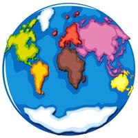 Eearth globe e paesi su bianco