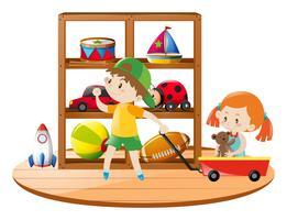 Bambini in camera piena di giocattoli vettore