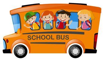 Bambini che cavalcano lo scuolabus vettore